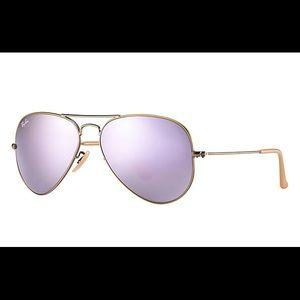 Ray-Ban Aviator Flash Sunglasses with Lilac Lenses